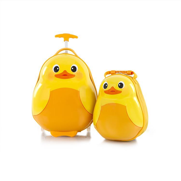 Set Troler ABS Copii si Ghiozdan Fete Baieti Heys Duck Galben 46CM