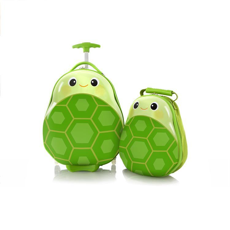 Set Troler ABS Copii si Ghiozdan Fete Baieti Heys Turtle Verde 46CM